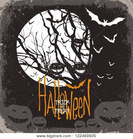 Halloween. Raster version. Dry tree, full moon and pumpkins and bats