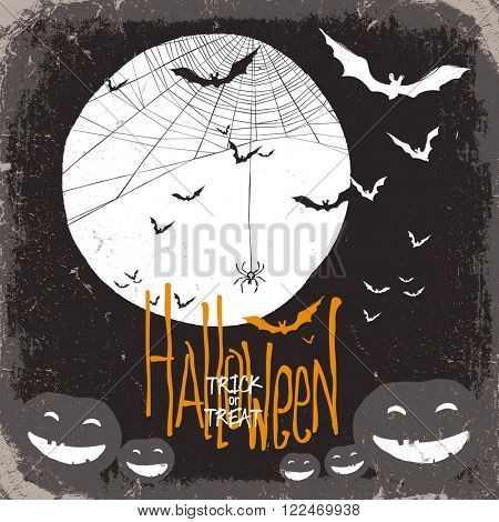 Halloween . Raster version. Spider web, full moon and pumpkins and bats