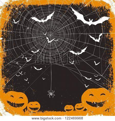 Halloween vector illustration. Spider web, pumpkins and bats. Raster version