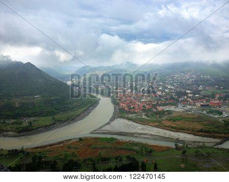 ?onfluence of Aragvi and Kura rivers in Mtskheta, Georgia
