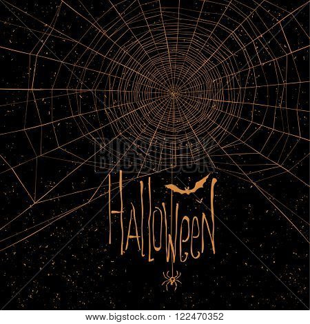 Halloween themed background with spider web and text. Raster version