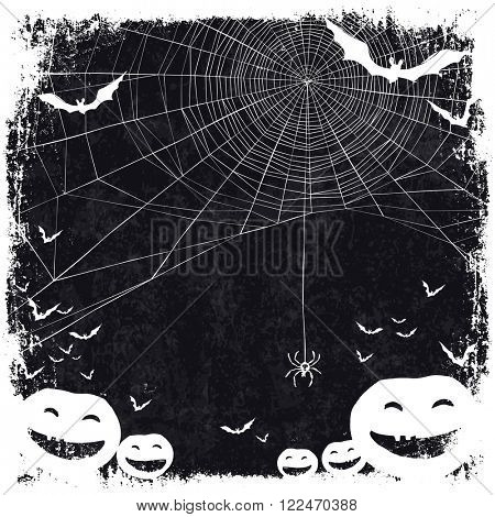 Halloween themed background with space for text. Halloween symbols - pumpkins, bats, spider web. Raster version