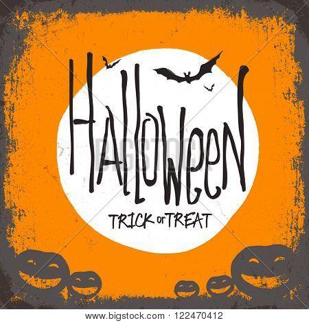 Halloween vector illustration. Dry tree, full moon and pumpkins. Trick or treat. Raster version
