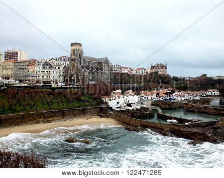 ?ld harbour of Biarritz, France. View of the city of Biarritz and it Byzantine church, Gulf of Biscay, South West France