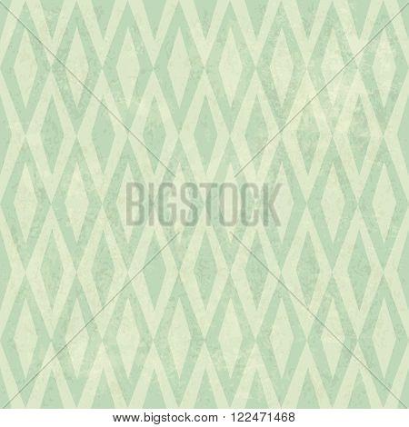 Seamless Vintage Rhombus Pattern. With Grunge Textured Background.. Raster version