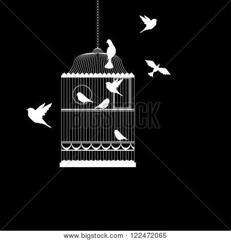 Vector illustration, of bird cage with birds