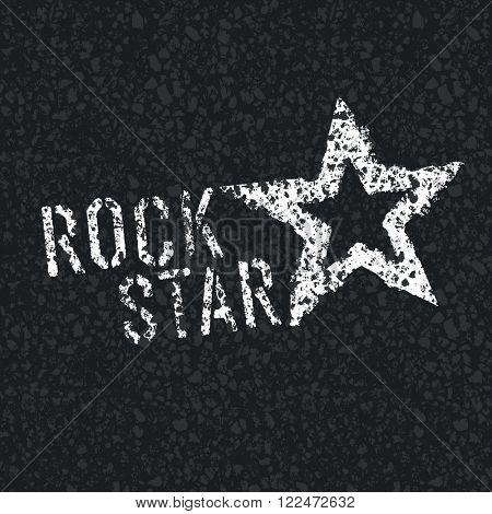 Rock Star Symbol on Asphalt Texture. Raster version
