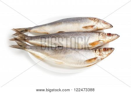 Salted herrings on a plate isolated on the white background