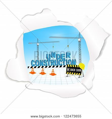 under construction web page in torn paper. Website under construction concept. Web page construction background. Graphic Web Design. Vector.