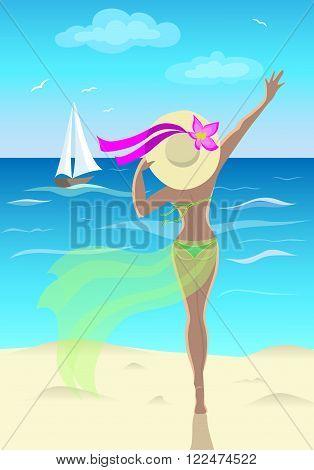 Tanned girl at sea waves at the ship