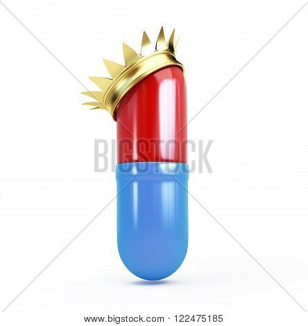 Pill in a golden crown 3d Illustrations on a white background