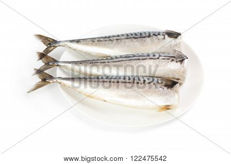 Salted mackerel on a plate isolated on the white background