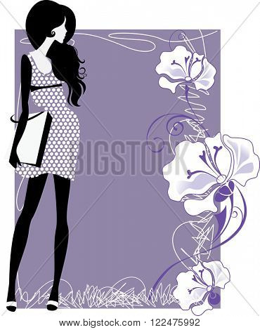 silhouette of a girl on a colored background with flowers