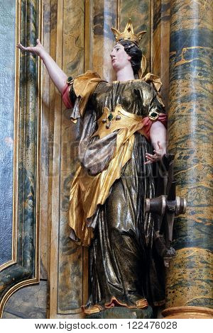 KOTARI, CROATIA - SEPTEMBER 16: Statue of Saint Catherine of Alexandria on the Saint Mary altar in the church of Saint Leonard of Noblac in Kotari, Croatia on September 16, 2015.