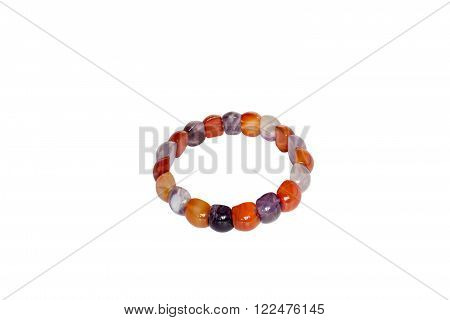Bracelet carnelian amethyst. Isolate on white background