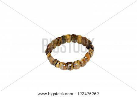 Bracelet of tiger eye. Isolate on white background