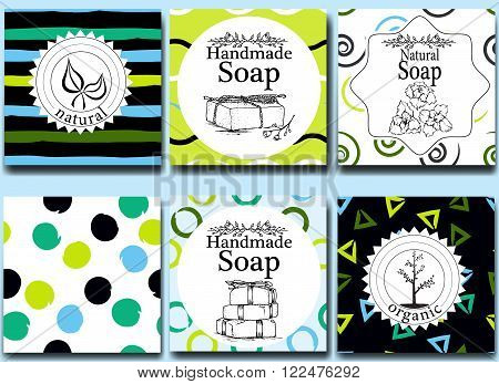 Vector set of seamless patterns, labels and logo design templates for handmade natural soap packaging and wrapping paper.