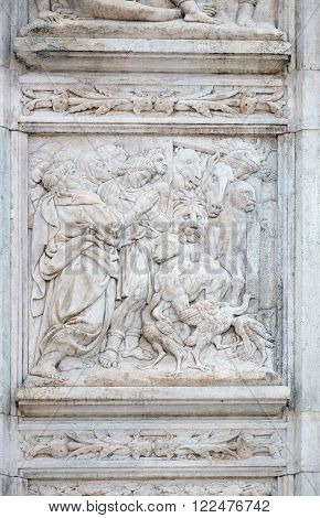 BOLOGNA, ITALY - JUNE 04: The Noah exits the ark, relief on portal of Saint Petronius Basilica in Bologna, Italy, on June 04, 2015