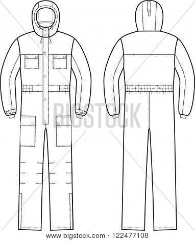 Vector illustration of winter work overalls with hood. Front and back views