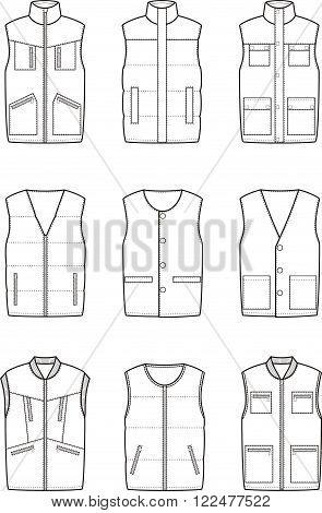 Vector illustration. Set of work waistcoats. Different models