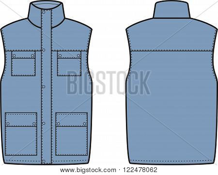 Vector illustration of winter work waistcoat. Front and back views