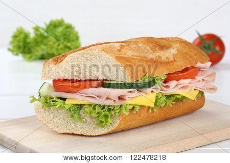 Sub Sandwich Baguette With Ham