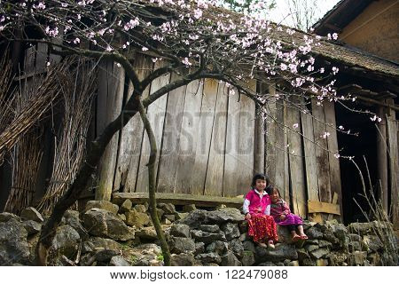 HAGIANG, VIETNAM, FEBRUARY 27, 2016 : Unidentified ethnic minority kids in Hagiang, Vietnam. Hagiang is a northernmost province in Vietnam