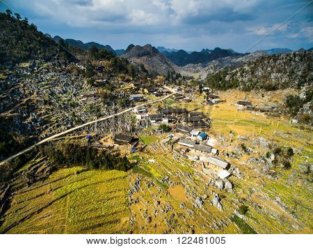 A village in Dong Van karst plateau global geological park, Hagiang, Vietnam from drone
