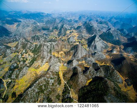 Amazing mountain landscape in Dong Van karst plateau global geological park, Hagiang, Vietnam from drone