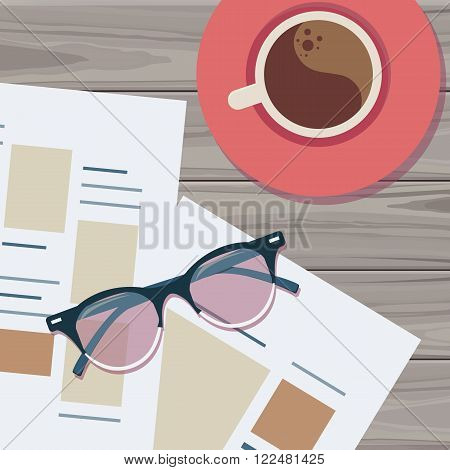Top of workplace with cup of coffee and glasses