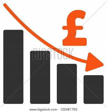Pound Recession Bar Chart vector icon. Pound Recession Bar Chart icon symbol. Pound Recession Bar Chart icon image. Pound Recession Bar Chart icon picture. Pound Recession Bar Chart pictogram.