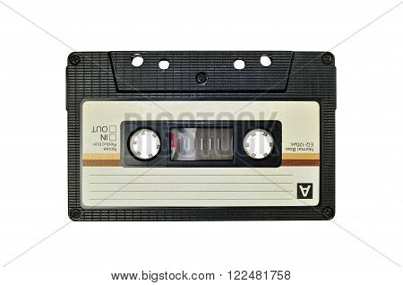 Photo of cassette tape isolated on white