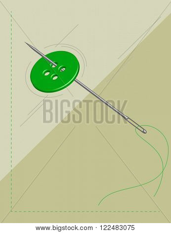 Sewing Needle Button Symbol Vector Illustration