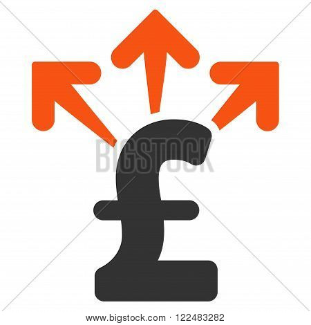 Spend Pound Money vector icon. Spend Pound Money icon symbol. Spend Pound Money icon image. Spend Pound Money icon picture. Spend Pound Money pictogram. Flat spend pound money icon.