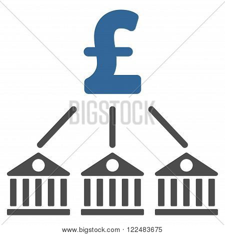 Bank Pound Expenses vector icon. Bank Pound Expenses icon symbol. Bank Pound Expenses icon image. Bank Pound Expenses icon picture. Bank Pound Expenses pictogram. Flat bank pound expenses icon.