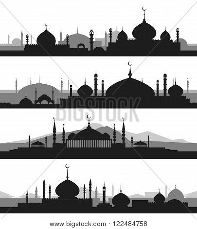 Islamic cityscape with mosque and minaret silhouettes. Mosques and minarets horizontal patterns. Vector illustration