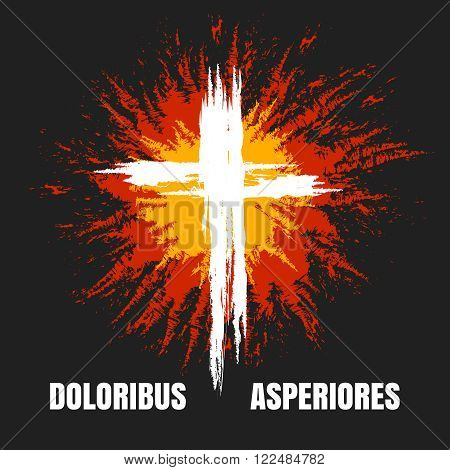 Grunge burning christian cross on black background. Vector illustration