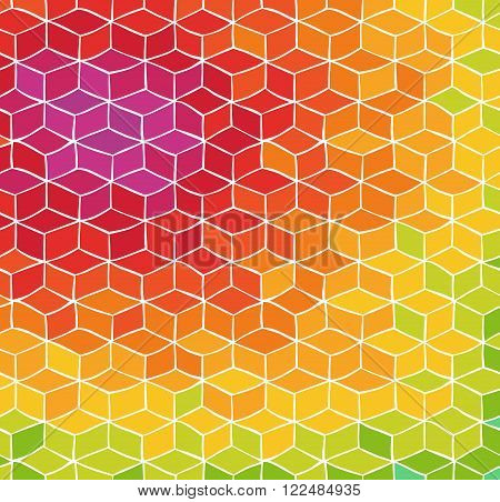 Colorful abstract background with hand drawn pattern of cubes
