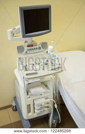 Modern ultrasonography apparatus at the rehabilitation center.