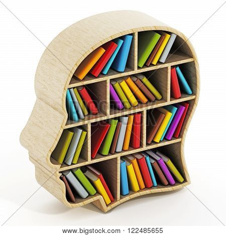 Books inside head shaped bookshelf isolated on white background