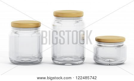 Glass jars with red lids isolated on white background
