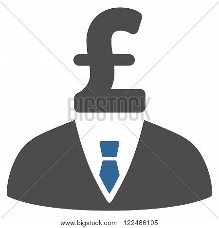Pound Businessman vector icon. Pound Businessman icon symbol. Pound Businessman icon image. Pound Businessman icon picture. Pound Businessman pictogram. Flat pound businessman icon.