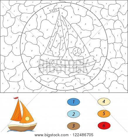Cartoon Yacht. Color By Number Educational Game For Kids