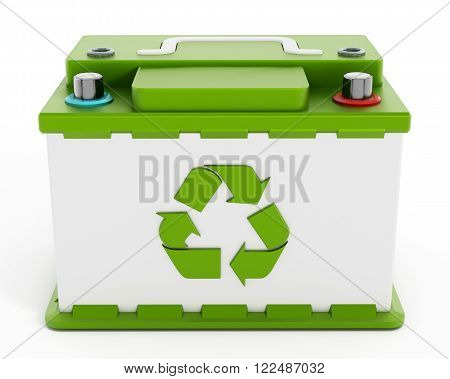 Recyclable car battery isolated on white background