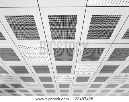 Suspended ceiling background with square tiles and light fixtures
