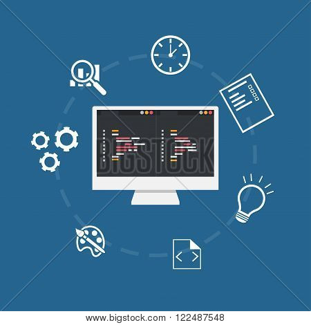 Banner of web development concept. Flat design illustration concepts for analysis working coding programming and training programming