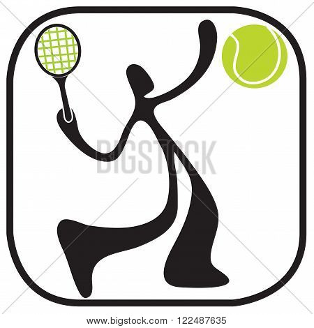 Shadow man playing tennis serving game in stadium cartoon logo and symbol design