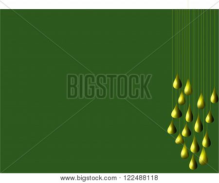 An illustration of golden pears hanging on the right of a dark green background