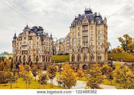 Beautiful houses in Kazan in the autumn overcast. Russia