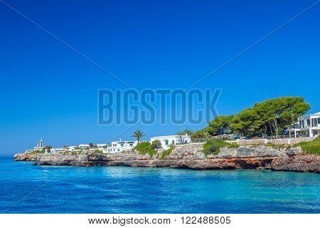 View on Cala des Frares cove at Ciutadella town, Menorca island, Spain.